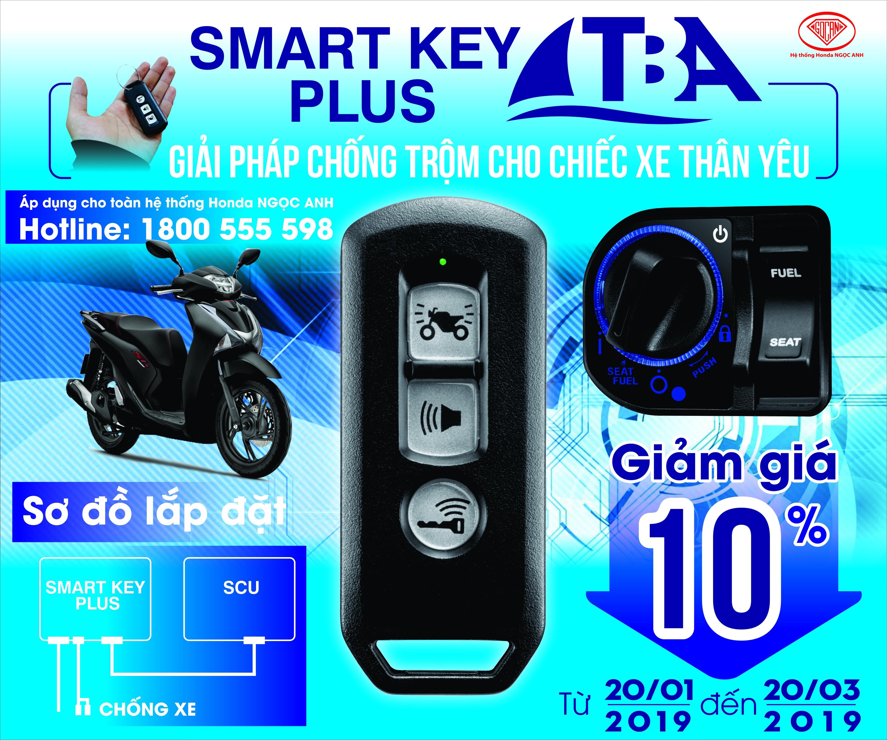 Tưng Bừng Ưu Đãi Giảm Giá 10% Cho Thiết Bị Khóa Smartkey Plus Tại Hệ Thống Honda Ngọc Anh