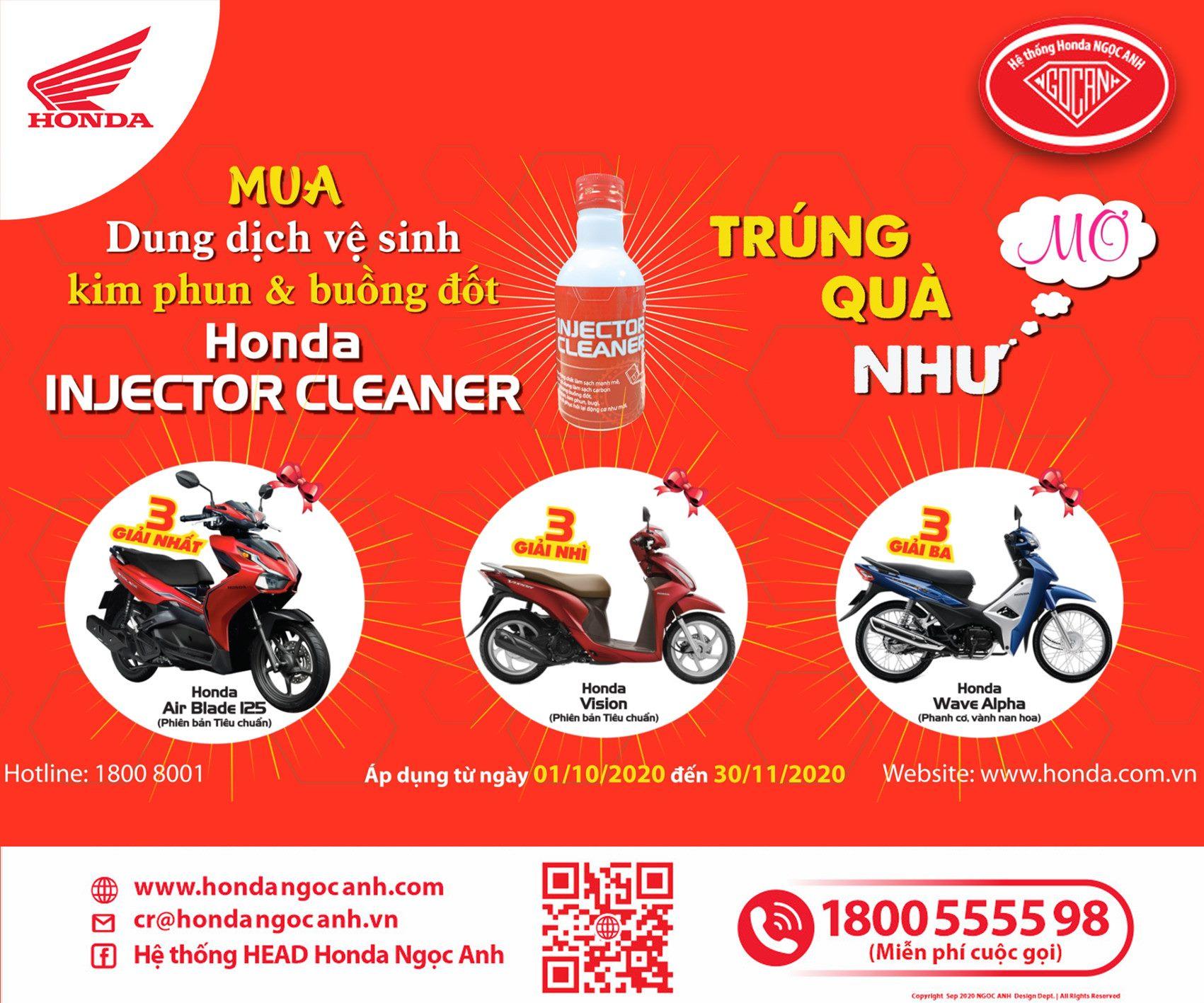 """Chương Trình """" Mua Honda Injector Cleaner, Trúng Quà Như Mơ"""""""