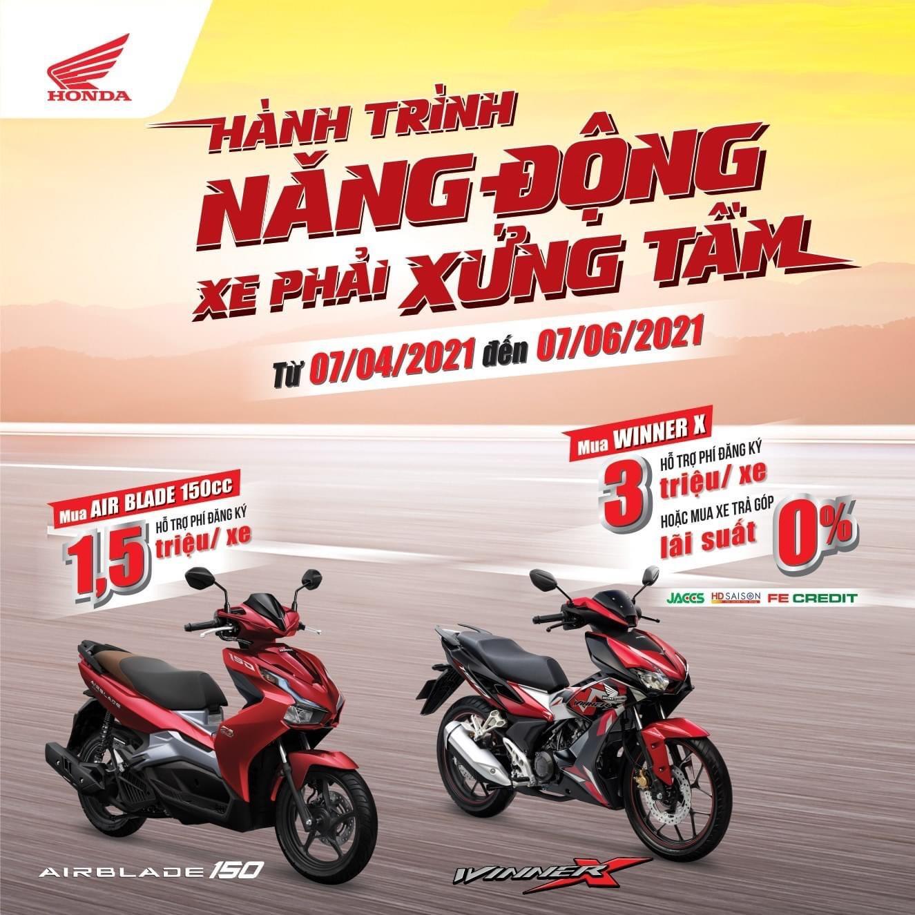 Honda Việt Nam dành ưu đãi hấp dẫn cho khách hàng mua xe WINNER X & Air Blade 150cc