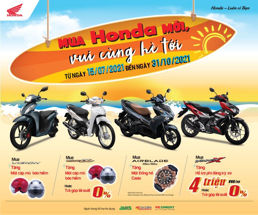 """Honda Việt Nam Chào Hè 2021 Với CTKM Lớn Nhất Năm"""" Mua Honda Mới – Vui Cùng Hè Tới"""""""