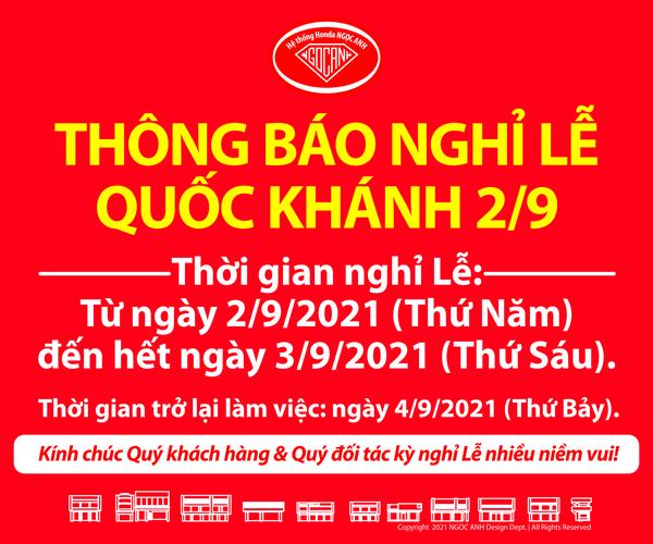 Thông Báo Lịch Nghỉ Lễ Quốc Khánh 2/9/2021